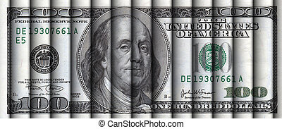 Rolls of hundreds - Rolls of hundred dollar bills aligned to...