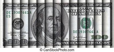 Rolls of hundred dollar bills aligned to display a one hundred dollar bill