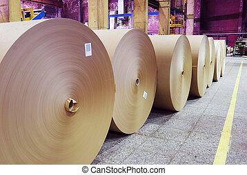 rolls of kraft paper in the workshop