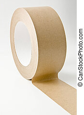 Rolls of packing tape on white background.