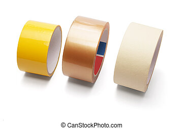Rolls of Packing Tape on White Background