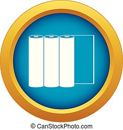 Rolls of paper icon blue vector isolated