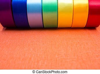 Rolls of satin ribbons multicolored - for hobbies