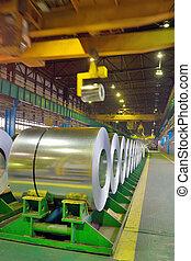 rolls of steel in a steel plant