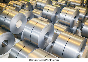rolls of steel sheet in a plant galvanized steel coil