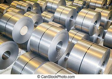 rolls of steel sheet in a plant galvanized steel coil