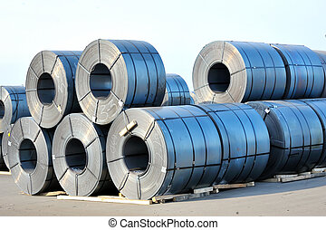 rolls of steel sheet in harbor