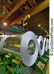 rolls of steel sheet  in warehouse