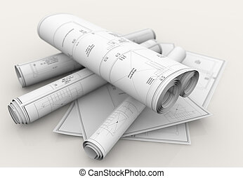 technical blueprints - rolls of technical blueprints on...