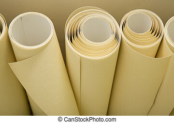 Rolls of wallpaper ready for apply