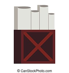 Rolls of white paper in wooden box icon flat style