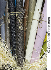 Rolls of wrapping paper binding with rope