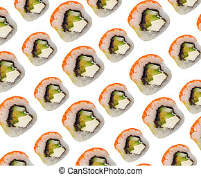 rolls with red fish on a white background