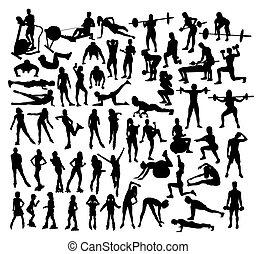 rollschuhe, und, turnhalle, fitness, silhouetten