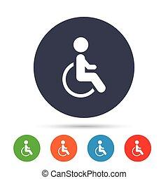rollstuhl, symbol., zeichen, behinderten, menschliche , icon.