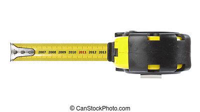 rolmeter, met, jaar, concept, 2011