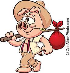 Rolnik, świnia