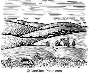 rolnik, krowa, jego