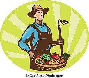 rolnik, z, ogród, motyka, i, kosz, wole, żniwa