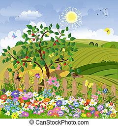 rolny krajobraz, z, drzewa owocu, i, niejaki, płot