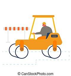 rolo, construtor, maquinaria, renovação, pavimentar, local., reparar, estrada, máquina, rodovia, pesado, dirigindo, asfalto, construção