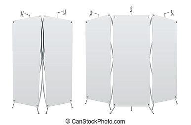 rolo, em branco, bandeira, cima, exposição