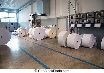 rolo papel, para, imprimindo, teia, máquina