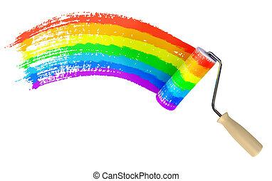 rolo, pintura, parede, cor, de, arco-íris