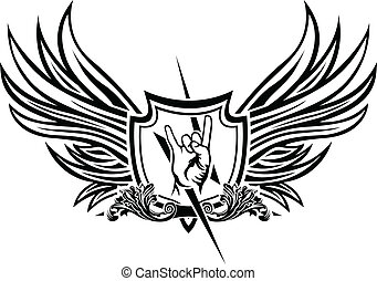 rolo, símbolo, vetorial, 'n', rocha