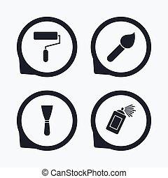 rolo, spatula., pintura, pulverizador, escova, icon., lata