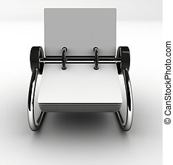 A blank white rolodex - rendered in 3d