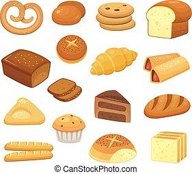 rolos., brinde, rolo, jogo, ícones, doce, francês, caricatura, panificadora, vetorial, produtos, bolo, pequeno almoço, pães, slice., icon., pão