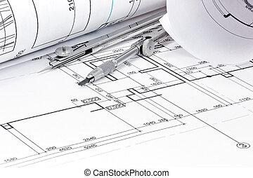 rolos, de, arquitetura, blueprint, com, bússola puxando, closeup