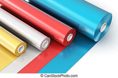 rolos, de, cor, pvc, plástico, fita