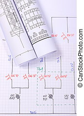 rolos, de, elétrico, diagramas