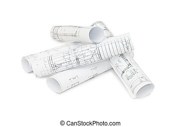 rolos, de, engenharia, desenhos