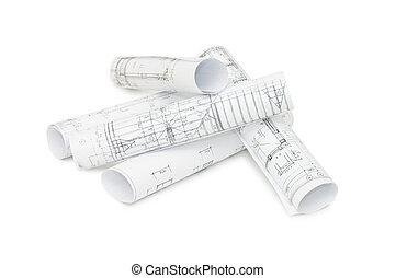 rolos, desenhos, engenharia