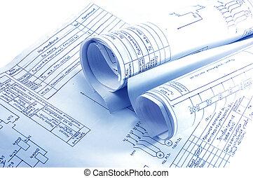 rolos, electricidade, engenharia, blueprint
