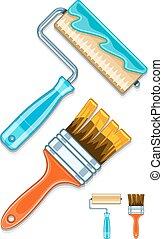 rolos, escovas, pintura, manutenção, trabalhos, ferramentas
