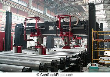 rolos., metalurgia, formando, fábrica, telhado, hardware,...