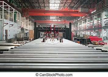 rolos., metalurgia, formando, fábrica, telhado, hardware, ...