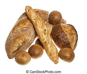 rolos, pão, exposição, baguette