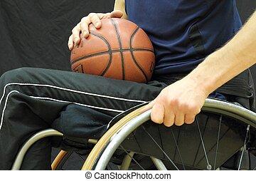 rolstoel basketbal, speler, met, bal, op, zijn, schoot
