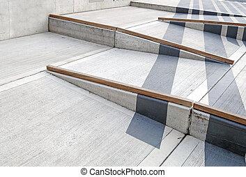 rolstoel helling, met, rood tapijt, voor, gemakkelijke...