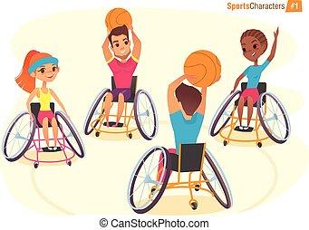 rolstoelen, illustration., characters., handicap, meiden, ...