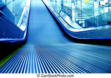 roltrap, gebouw, metro, moderne, station
