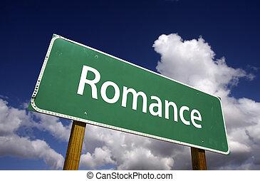 románc, út cégtábla