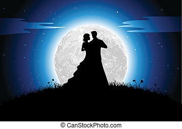 románc, alatt, éjszaka