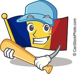 románia, elszigetelt, lobogó, baseball, játék, kabala