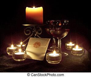 romántico, alumbrado por velas, escena